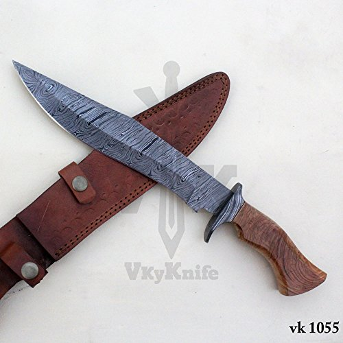 Handmade Damascus Steel Hunting Bowie Knife with Leather Sheath outdoor camping 15.50 Inches vk1055 by JNR TRADERS (Image #2)