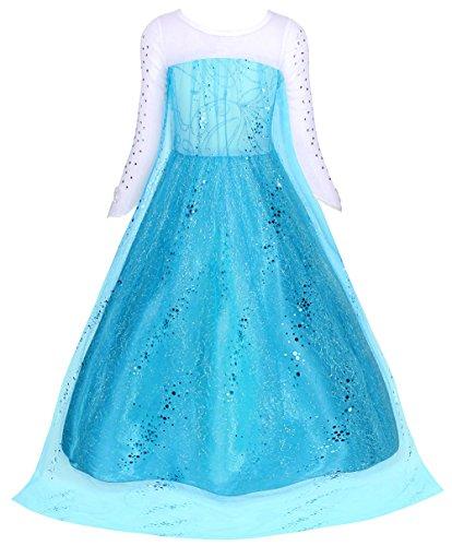 51u5pK38KmL Vestido de princesa para niñas con adornos de pedrería brillante; Manga larga y cuello redondo diseñado, lado de la cremallera de cierre; Algodón, poliéster