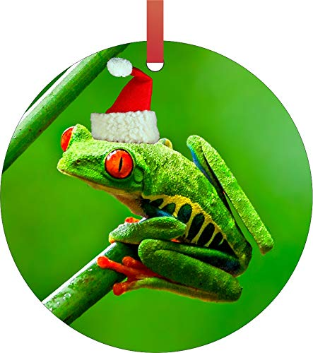 (Tree Frog with a Santa Hat Aluminum Christmas Embellishment Tree Ornament)