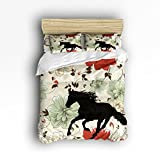 Ultra Soft 4 Pcs Bedding Sets Cotton Modern Luxury Bedding Colorful Flowers with Transparent Horse Pattern Printed Home Comforter Bedspread Duvet Cover Set King Size