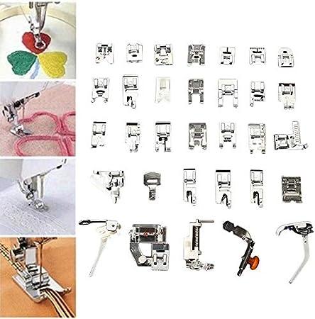 Alextry 32 Piezas Máquina de Coser Prensatelas Pie Kit Multifuncional Accesorios para máquina de Coser: Amazon.es: Hogar