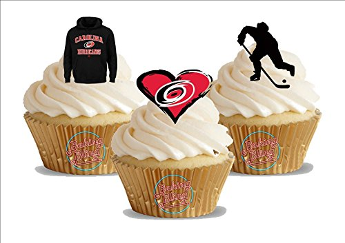 - 12 x Ice Hockey Carolina Hurricanes Trio Mix - Fun Novelty Birthday PREMIUM STAND UP Edible Wafer Card Cake Toppers Decoration