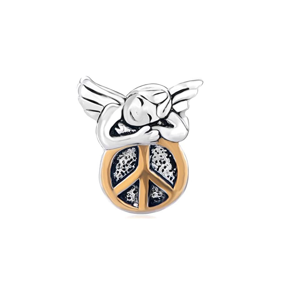 CharmSStory Sterling Silver Sleeping Angel On Round Peace Symbol Charm Beads For Bracelets