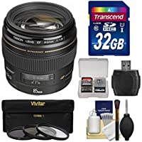 Canon EF 85mm f/1.8 USM Lens with 3 Filters + 32GB SD Card + Kit for EOS 6D, 70D, 5D Mark II III, Rebel T3, T3i, T4i, T5, T5i, SL1 DSLR Cameras