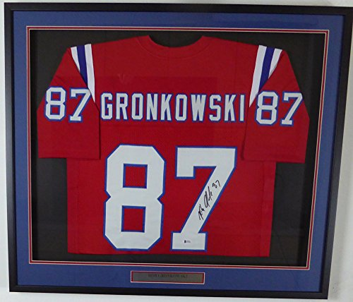 (New England Patriots Rob Gronkowski Autographed Framed Red Jersey Beckett BAS)