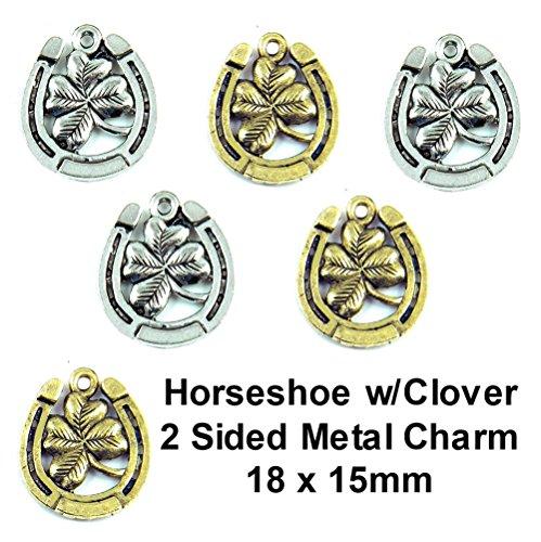 Gold 4 Leaf Clover Charm (PlanetZia 6 pcs Doubled Sided Horseshoe with 4 Leaf Clover Charm TVT-HSC (Antique Gold))