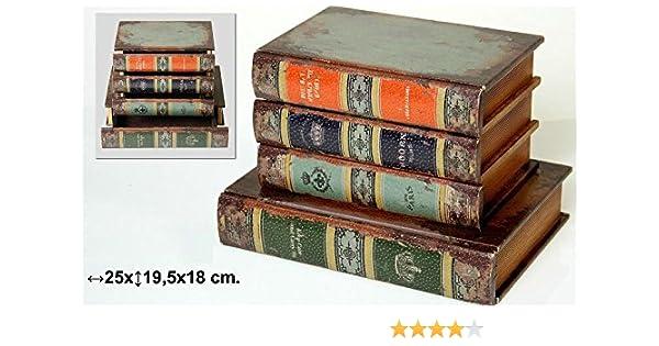 DONREGALOWEB Caja de Madera con Imitacion 4 Libros Polipiel y ...