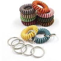 20 stks Mix Kleurrijke Elastische Pols Sleutelhanger, Plastic Lente Flexibele Spiraal Coil Stretchable, Polsband Armband…