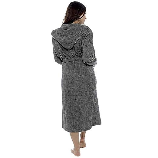 ZYUEER Peignoir De Bain à Capuche Femme Grande Taille Couleur Unie   Amazon.fr  Vêtements et accessoires d9561069a9ca