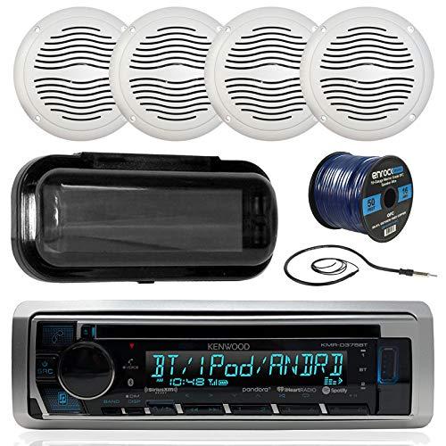 Kenwood KMRD372BT in-Dash Audio Bluetooth CD Player Receiver Bundle Combo W/Waterproof Shield Cover + 4X 5 Marine Boat White Outdoor Speakers + Enrock Radio Antenna + 16-Gauge 50-Foot Speaker - Player Indash Cd Kenwood