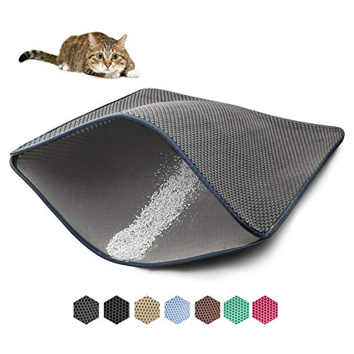 WePet Cat Litter Mat, Kitty Litter Trapping Mat - XLarge Size, Honeycomb Double Layer Mats, No Phthalate, Urine Waterproof, Easy Clean, Scatter Control, Catcher Litter Box Rug Carpet 35x23 Inch Black (Stop Scatter Cat Litter Box)