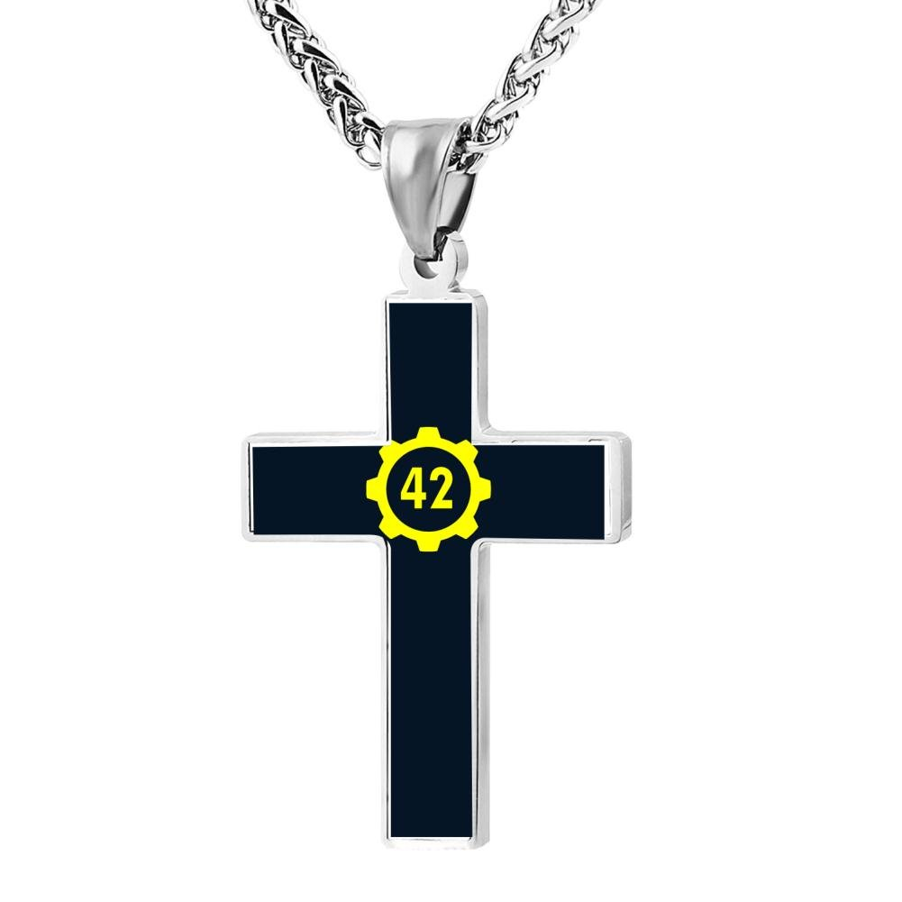 Jewelry Zinc Alloy Chain Necklace for Men Women 24 Inches FollowC 42 Cross Pendant