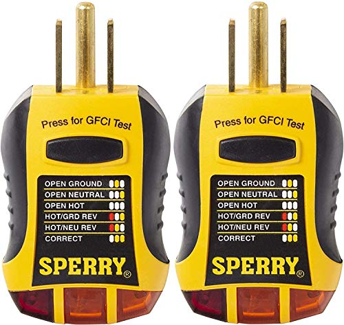 Sperry Instruments GFI6302 GFCI Outlet/Receptacle Tester, Standard 120V AC Outlets, 7 Visual Indication/Wiring Legend…