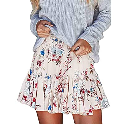 Floral Ruffle Short Skirt for Women Boho A-line Skater Mini Skirts Casual Party