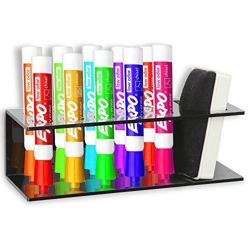 Black Acrylic Wall Mountable 10 Slot Dry Erase Marker & Eraser Holder Organizer Rack - MyGift