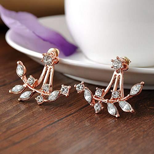 Wausa Women Cute Double Sided Ear Jacket Piercing Water Drop Crystal Earrings Jewelry | Model ERRNGS - 10552 |