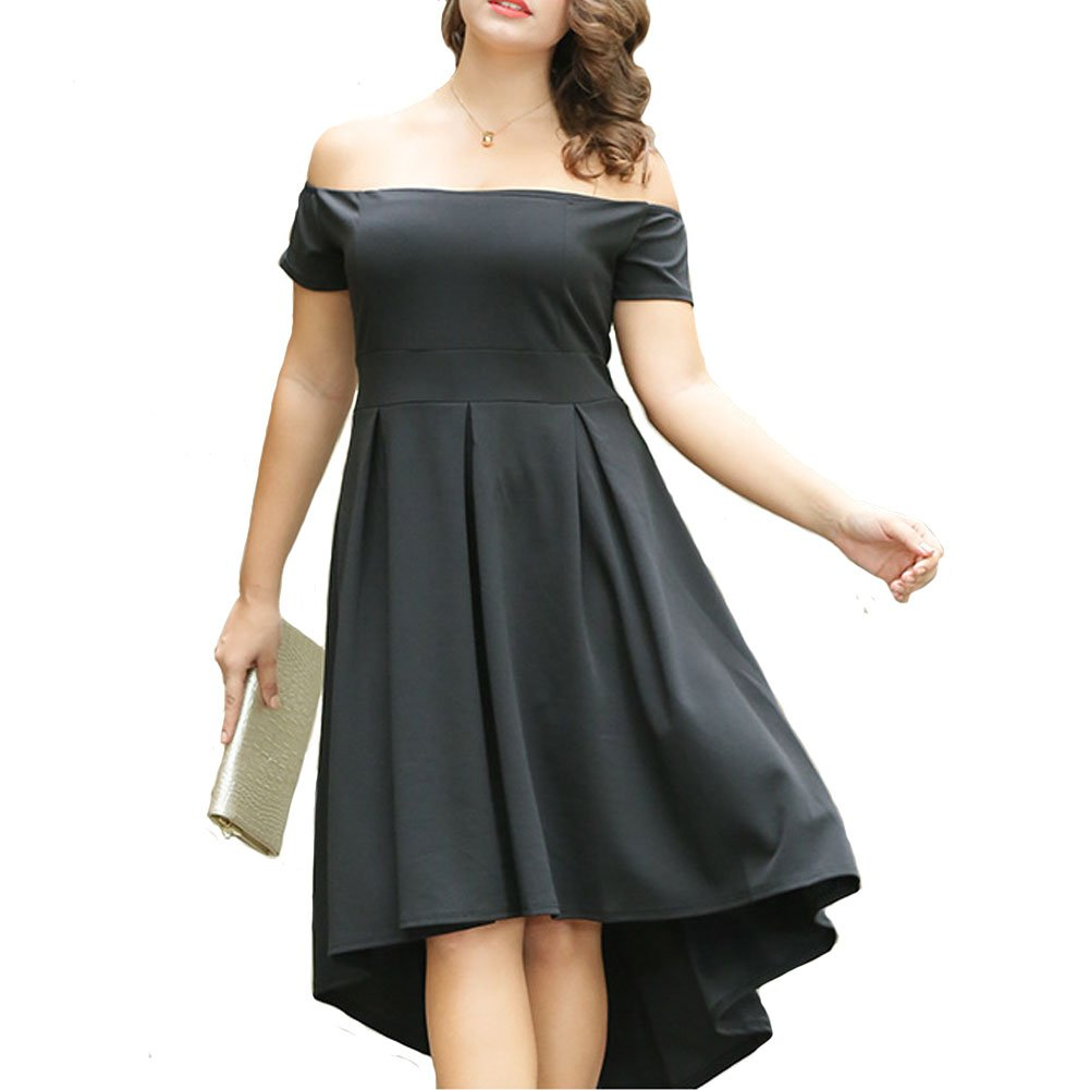 Pyramid Top Women's Plus Size Off The Shoulder High Low Homecoming Party Cocktail Dress(BLACK2£¬XXXL)
