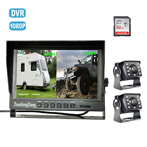 Dual Backup Cameras Kit with DVR,2 x HD 1080P 4Pin Car Front Rear View Camera ip69 Night Vision + 9″ IPS AHD Split Monitor with SD Recording 12V~24V for Long Truck Bus RV Camper Vehicle