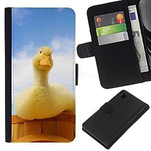 YiPhone /// Tirón de la caja Cartera de cuero con ranuras para tarjetas - Pato curioso - Sony Xperia Z1 L39