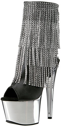 Pleaser Adore-1024rsf - Botines Mujer Schwarz (Silver Chrome)