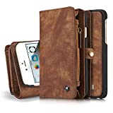 """iPhone 6s Detachable Wallet Case XRPow 2In1 Multi-Functional Removable Magnetic Back Cover 11 Card Slots & 3 Cash Pocket Premium Folio Zipper Wallet Case for iPhone 6/6s 4.7"""" BROWN"""