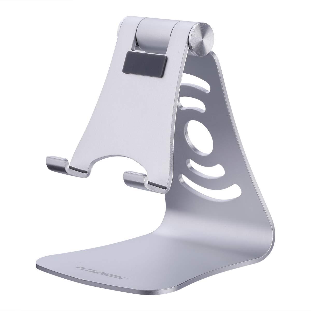 FLOUREON Handy Ständer Smartphone Halterung Handyhalter Tablet Stand für iPhone iPad Samsung Huawei Kindle und alle andere Tableten Handys Silber