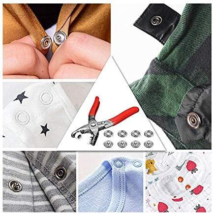 Namgiy 200pcs Boutons Pression avec Kit de Pince en M/étal 10mm Set de Creux et Solide Boutons pour B/éb/é Bavoir Gigoteuse DIY Couture Craft