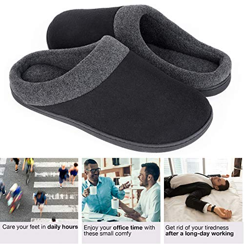 HomeIdeas Men's Woolen Fabric Memory Foam Anti-Slip House Slippers, Winter Breathable Indoor Shoes,Medium / 9-10 D(M) US,Black