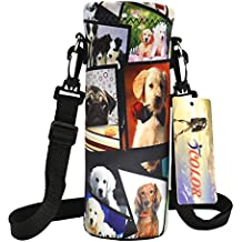 iColor 750ml Water Bottle Carrier Holder Sleeve 24oz (750 Milliliter) w/Adjustable Shoulder strap,Sling insulated Outdoor Sports Bottle Bag Case Pouch Cover,Fits Bottle Diameter less 3.14""