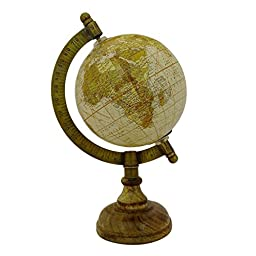 Mini Rotating Desktop Globe World Beige Ocean Geography Earth Table Décor 8.5\