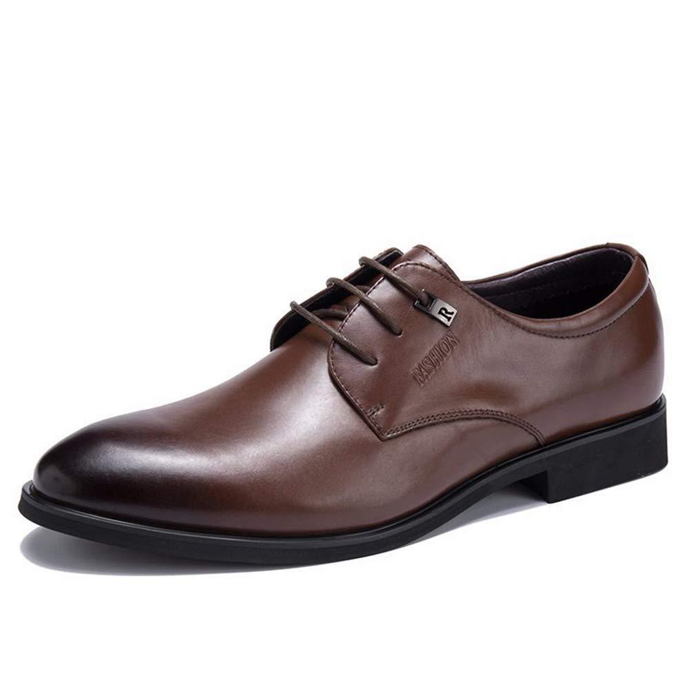 ZHRUI Echtes Leder Business Formale Schuhe für Männer Rutschfeste Weiche Sohle Lace up Derbys (Farbe   Braun, Größe   EU 44)