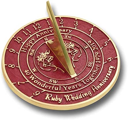 ANTIQUECOLLECTION 40th Ruby Wedding Anniversary Sundial Gift