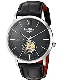 ELYSEE Men's 'Classic-Edition' Automatic Stainless Steel and Leather Casual Watch, Color:Black (Model: 77010G)