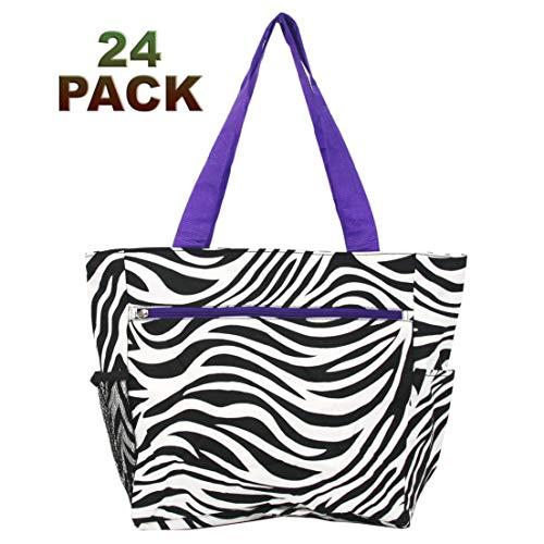 Closeout Tote Bag (Zebra Purple Trim, 24)