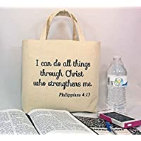 """BIBLE TOTE Scripture Tote with inside divided pocket, Bible Verse Tote, Bible Study Book Tote, Inspirational Gift, Bag Size is 10.25"""" tall x 13"""" wide with 2.5"""" gusset"""