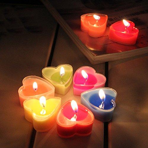 Sundlight Heart Shape Candles Set Bulk 4 Hour Floating Smokeless Romantic Candles Pack of 9 - Pink