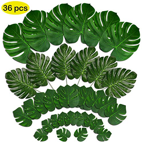UPINLOOK 36 Pcs 4 Kinds Artificial Palm Leaves with Faux Monstera Leaves Stems Tropical Plant Simulation Safari Leaves for Hawaiian Luau Party Supplies Jungle Beach Birthday Theme Party Decorations