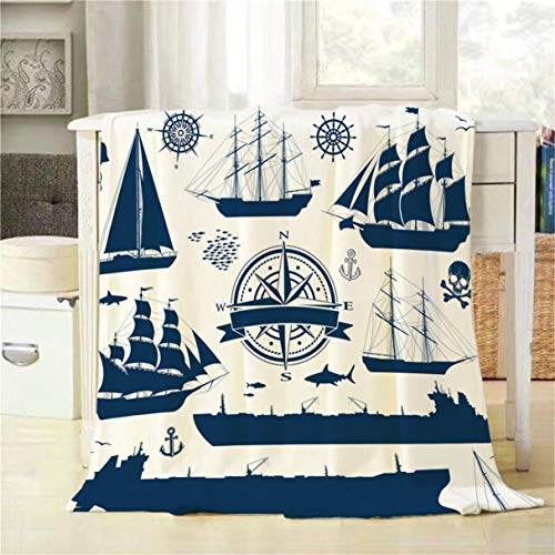 Fully Rigged Ship - Mugod Throw Blanket Set of Fully Rigged Sailing Ships Yachts and Oil Tankers Isolated on White Decorative Soft Warm Cozy Flannel Plush Throws Blankets for Bedding Sofa Couch 40 X 50 Inch
