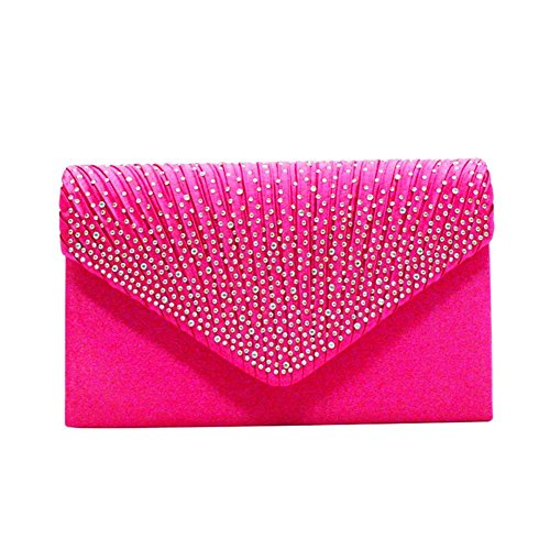 Satin Bag Decorated Evening Rhinestone Hot Detachable Bag Party for Women's Wedding Envelope with iShine Chain Pink Clutch qwIpYx