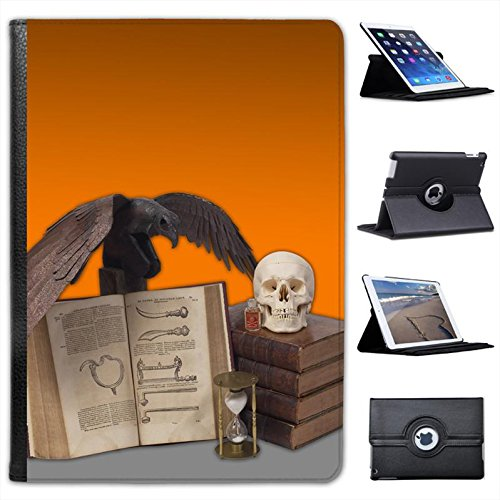 Halloween Props Spooky Skulls Black Crow Poison For Apple iPad Air 2 [2014 Version] Faux Leather Folio Presenter Case Cover Bag with Stand Capability ()