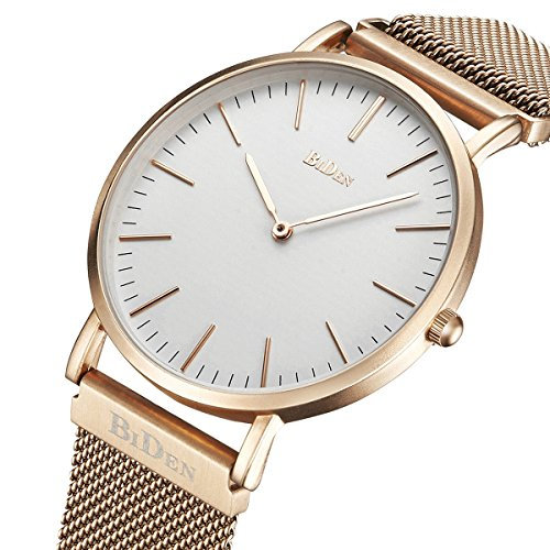 Mens Women Unisex Quartz Analog Watch Waterproof Business Luxury Fashion Simple Design Wristwatch Magnetic Band(rose gold)