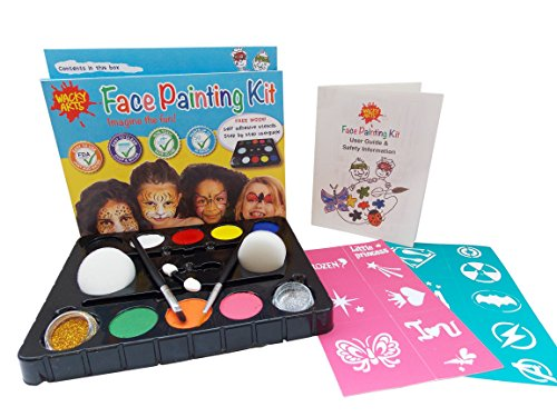 [Face Paint For Kids from Wacky Arts, Face Painting Kit Non Toxic, Waterbased, Easy Use 16 Stencil Kit, FDA Safe Includes 8 Colors 2 Glitters, Safety Guide & Design Manual for All Parties &] (Party Glitters Costumes)