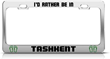 UZBEKISTAN TASHKENT Chrome Heavy Duty Metal License Plate Frame Tag Border