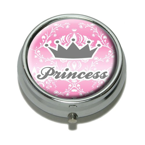 Princess Crown Pink Damask - Spoiled Pill Case Trinket Gift ()