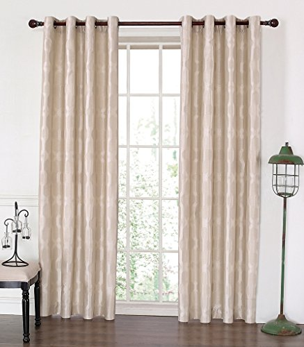 MYSKY HOME Lined Jacquard Room Darkening Grommet top Curtain Panel, 52 by 84 inch, Beige (1 Panel)