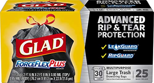 🥇 Glad Large Drawstring Trash Bags  ForceFlexPlus 30 Gallon Black Trash Bag – 25 Count