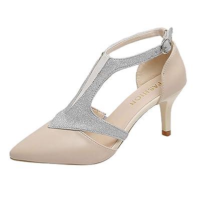 bdd4a38d38c542 Stilettos de la Mode féminine Sandales à Talons Aiguilles et Bout Ouvert  Pompe à Ceinture Plate