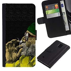 iKiki Tech / Cartera Funda Carcasa - Cannabis Man Green Hat Old Grey Beard Art - Samsung Galaxy Note 4 SM-N910