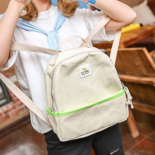 Clode® Mochila de hombro chicas chicos lienzo escuela Bolsa viaje mochila mochila mujer Beige