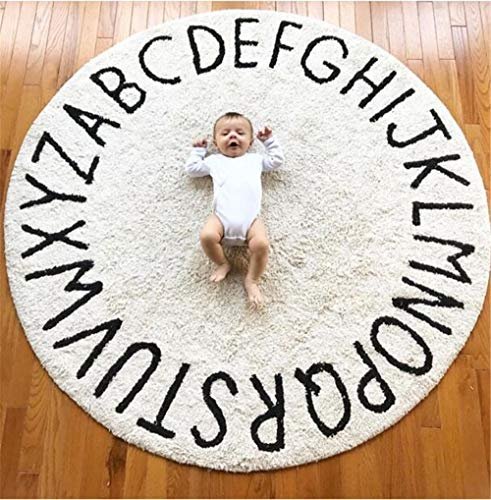 FasterS ABC Baby Rug for Nursery Kids Round Educational Alphabet Warm Soft Large Activity Mat Floor Area Rugs Cotton Non-Slip for Children Toddlers Bedroom 59inch (Off White) from FasterS